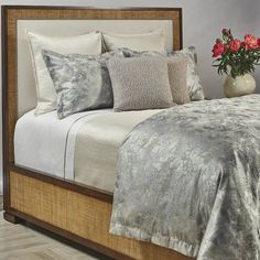 Sophisticated linea quilting is paired with The Art of Home from Ann Gish contemporary Terrazzo duvet set.