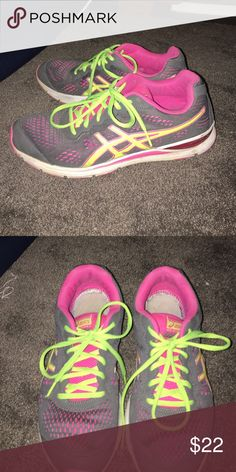 Asics Gel Storm 2 Pink, neon green and gray running shoes from asic, in good condition but missing soles Asics Shoes Sneakers