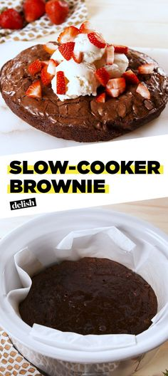 This Slow-Cooker Brownie Is A Weeknight Dream - Slow-Cooker BrownieDelish The Effective Pictures We Offer You About recipes for kids A quality pic - Slow Cooker Desserts, Crock Pot Desserts, Köstliche Desserts, Delicious Desserts, Dessert Recipes, Yummy Food, Chocolate Desserts, Tasty, Slow Cooking