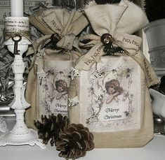 Beauty from Viola  <3 these little burlap bags and bows for gifting soaps or other small items. Would be easy to make vintage images onto transfer paper and just iron onto bags.  So cute!
