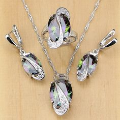 Cheap jewelry sets for women, Buy Quality silver jewelry set directly from China sterling silver jewelry set Suppliers: Natural Mystic Rainbow Cubic Zirconia 925 Sterling Silver Jewelry Set For Women Wedding Earrings/Pendant/Necklace/Rings Silver Wedding Jewelry, Wedding Jewelry Sets, Engagement Jewelry, Wedding Earrings, Sterling Silver Jewelry, Gold Jewelry, Women Jewelry, Jewelry Rings, Silver Earrings