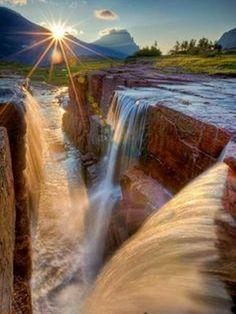 Amazing Waterfalls Around The World -2 - Triple falls-Glacier Park-USA #activeadventures #waterfalls #travel #photography #aroundtheworld