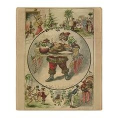 Vintage Christmas Santa Scene Stadium Blanket - A christmas blanket decorated with old time Christmas scenes. Santa is bringing the Christmas dinner!