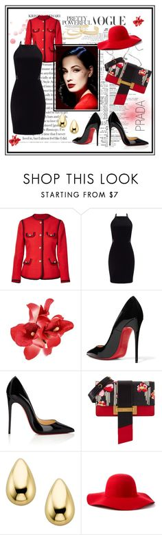 """""""Lady in red.."""" by vellfe ❤ liked on Polyvore featuring Gucci, Miss Selfridge, Christian Louboutin, Dita Von Teese, Prada, Scala, Kendra Scott, classy and fashionset"""