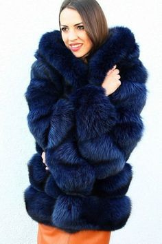 blue dyed fox fur parka