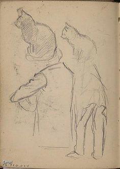 Edmond-Joseph Massicotte, Études de personnages et de chats, entre 1906 et 1908. Mine de plomb sur papier, 13,7 x 10 cm. Collection MNBAQ #mnbaq #MuseumCats