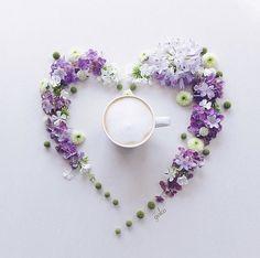 Coffee Flower, Flower Tea, Good Morning Coffee, Latte Art, Flower Backgrounds, Beautiful World, Tea Party, Flower Arrangements, Purple