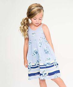 Blue & White Floral A-Line Dress - Toddler & Girls