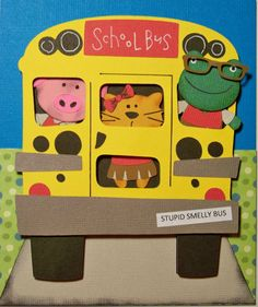Such a cute card by one of our Cricut owners, Nadia! This Back-to-school card features animals morphed together using Teddy Bear Parade and other carts, stuffed into a school bus! Scrapbook Paper Crafts, Scrapbook Cards, School Scrapbook Layouts, Scrapbooking Ideas, Create A Critter, Teacher Cards, Cricut Craft Room, Cricut Cards, Cricut Creations