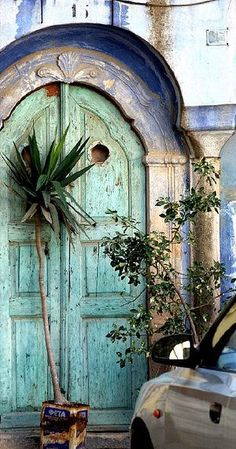 Growing with Plants: Chios Island (Dodecanese), Greece Cool Doors, Unique Doors, Portal, Door Knockers, Door Knobs, When One Door Closes, Door Gate, Grand Entrance, Closed Doors