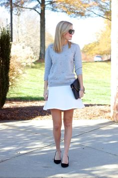 sooo wishing i got the white fluted skirt now - perfect holiday outfit