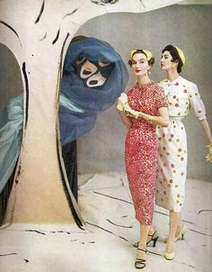 Evelyn and Dovima in painted set by Marcel Vertes, photo by Horst, Vogue May 1953
