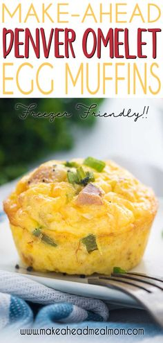 These delicious Denver Omelet Egg Muffins have all the flavors of your favorite diner breakfast staple in a make-ahead freezable breakfast egg muffin! An easy freezer meal for easy breakfasts througho Make Ahead Meals, Make Ahead Breakfast, Breakfast Recipes, Breakfast Gravy, Breakfast Muffins, Breakfast Ideas, Breakfast Cereal, Breakfast Bars, Dinner Recipes
