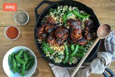 Spanish Chicken with Spinach - Brown Rice and Sugar Snap Peas Sauce Au Miel, Spanish Chicken, Sugar Snap Peas, Spinach Stuffed Chicken, Brown Rice, Cooking, Ethnic Recipes, Food, Salads
