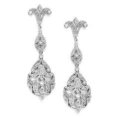 Opulent Vintage Inspired CZ Silver plated Wedding Earrings 3628E - Affordable Elegance Bridal -