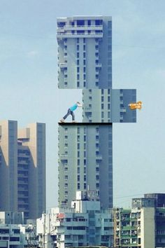 awesome optical illusion on building sign
