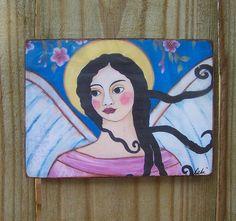 Folk Art Angel Encaustic Woodblock Print by Debidoodah on Etsy,
