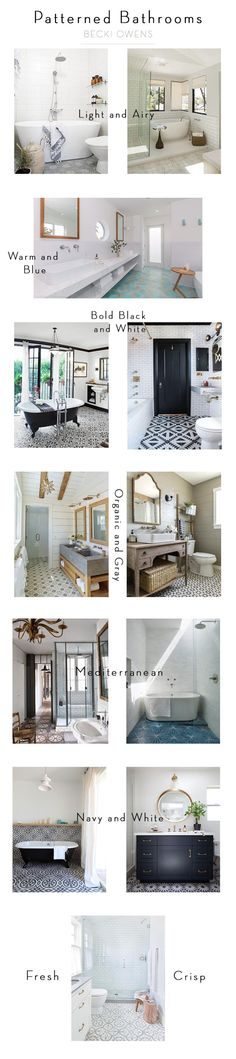 I've been working on a project that has me pinning amazing inspirations for patterned bathrooms and kitchens. I love the tile trends I'm seeing, from bold black and white to soft organic and gray . patterns. Today, I want to share a grouping of some of my favorite ideas for bathrooms using unique patterned tile.