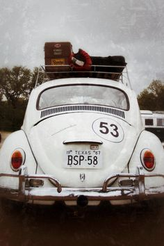 Volkswagen Luggage - White Vintage Bug - Classic Car - Fredericksburg, TX - Fine Art Photography Print