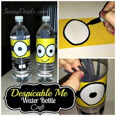Sassy Dealz: DIY: Despicable Me Minion Water Bottle Craft For Kids (Cover Tutorial)