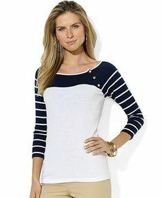 Lauren Ralph Lauren Colorblocked Raglan-Sleeve Top - Tops - Women - Macy's