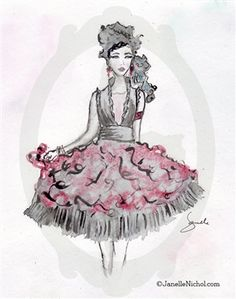 """Janelle's Sketches done as Watercolors. This fun and flirty style party dress with layers of black and sheer red organza is part of """"The WC Collection"""" from Janelle Nichol and is available for purchase and licensing Watercolor Images, Black Party Dresses, Dress Sketches, Female Art, Lady, Unique, Fun, Beautiful, Beauty"""