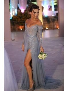 Grey Lace Long Sleeves Off-the-Shoulder Split Long Prom Dresses Evening Gowns 99602235