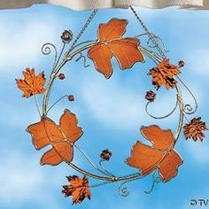 stained glass leaves pattern | STAINED GLASS FALL LEAF WREATH | Shop home, interior_design| Kaboodle