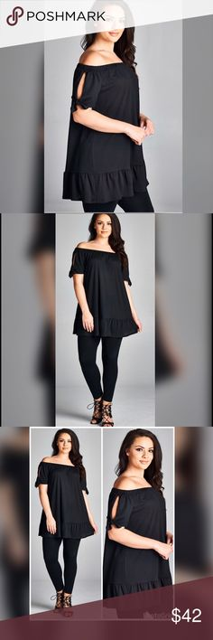 💣PLUS💣NEW💣Salya Off Shoulder Tunic Top Tunic top with sleeve bow tie detail and bottom hem ruffle. Tops Tunics