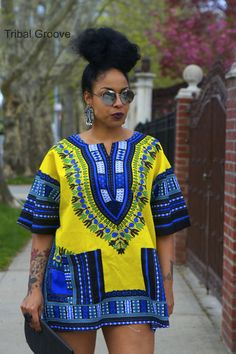 Unisex Dashiki Yellow African Shirt by tribalgroove on Etsy