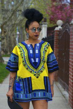 Unisex Dashiki Yellow African Shirt Dress
