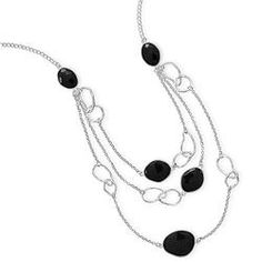 Sterling Silver and Black Onyx Necklace www.limitlessboutique.com