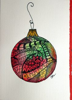 Zentangle art watercolor card Christmas by ArtworksEclectic, $4.75