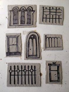 carved stamps - windows, doors  fences