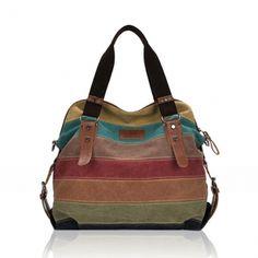 Women Casual Stripe Canvas Contrast Color  Handbags Bags