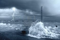 Stormy seas with lightning and big waves has an environmental and eco-focus to the free stock photo. Thanks to 123rf.com!