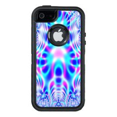 Neon Pink and Blue Rocket Abstract OtterBox Defender iPhone Case
