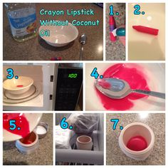 Crayon Lipstick Without Coconut Oil - 1. Get a crayon or half a crayon and peel off the wrapper. 2. Put the crayon in a bowl and add a teaspoon of vegetable oil. 3. Microwave the bowl for 1 minute. 4. Take out of the microwave and stir with a spoon. 5. Pour the mixture into a container. 6. Freeze the liquid in the freezer. 7. Take out and apply on lips. Enjoy! Follow PINk Peanut!