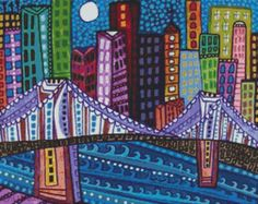 Modern Cross Stitch Kit 'Brooklyn Bridge' By Heather by GeckoRouge, $83.00