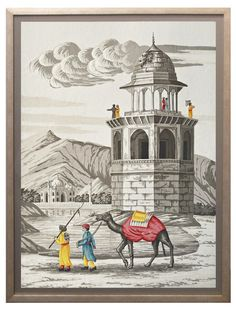 jardins en fleur retro. Scene of Old India  Framed Painting on Silk, Grisailles with Color