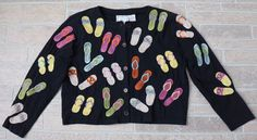 Michael Simon Lite Black Flip Flops Cardigan Button Front Embroidered Small S #MichaelSimon #Cardigan #Casual