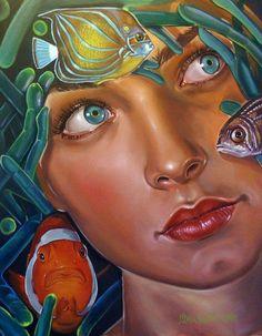 Italia Ruotolo born in Naples, Italy. Ruotolo's work is a broad range of pop art and art nouveau. Arte Pop, Pop Art, Mermaids And Mermen, Portraits, Art Academy, Fish Art, Amazing Art, Fantasy Art, Art Drawings
