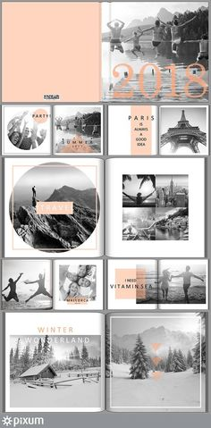 Collect your best memories of the year in your Pixum photo book. Our stylish template lets your creation shine in a modern sheen. Black and white combined with color accents give your Pixum photo book a very special look. Album Design, Buch Design, Foto Blog, Photo Layouts, Wedding Album, Layout Inspiration, Portfolio, Brochure Design, Layout Design