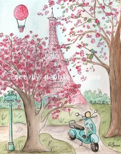 Pink Eiffel Tower Paris print for girl's room. This adorable print can be purchased alone or as part of a set of 3 'Vespa's in Paris'. These are copies of original watercolors by Debbie Cerone