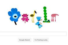 Google celebrates the spring equinox with a colorful doodle based on the floral and fauna designs of Marimekko, a Finnish company renowned for its bold 1960s patterns.