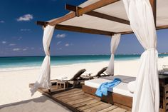Beach cabanas at The Ritz-Carlton, Grand Cayman