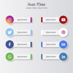 Social media lower thirds Free Vector in 2019
