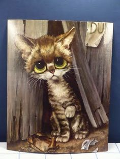 """""""Dumps"""" by Gig Keane Big Eyes Paintings, Animal Paintings, Cats With Big Eyes, Cat Art Print, Gif Animé, Here Kitty Kitty, Cat Tattoo, Cat Drawing, Whimsical Art"""
