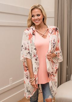 Our Song Floral Kimono Ivory
