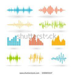 Color sound waves. Music technology, digital design, stereo equalizer, audio recorder, voice waveform, vector illustration